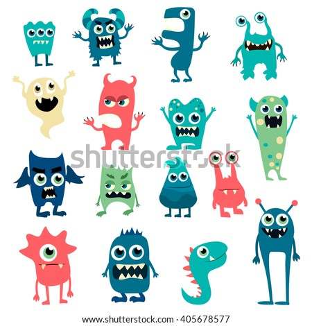 cartoon flat monsters big set