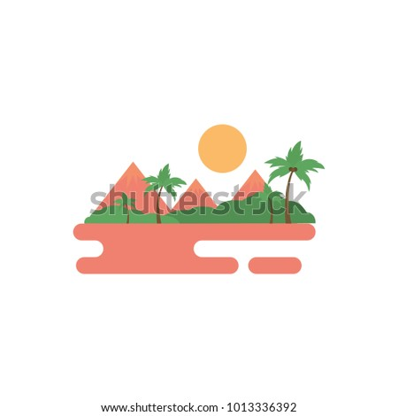 Cartoon flat natural landscape mountains with trees and forest