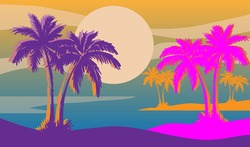 Cartoon flat panoramic landscape, sunset with the palms on colourful background. Vector illustration.