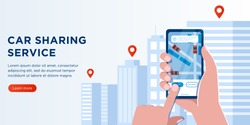 Cartoon Flat web banner car sharing and taxi Service. Urban Application. Male Hand Holding mobile Phone with gps City Map location. Vehicle Rental. Available car. Navigation Location Rental Car.