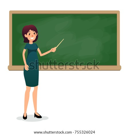 Cartoon flat women with pointer in the classroom near the blackboard is teaching a lesson. Yang female teacher at the university is giving a lecture. Flat teacher on lesson showing on board. Empty