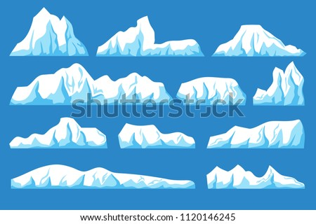 Stock Photo Cartoon floating iceberg vector set. Ocean ice rocks landscape for climate and environment protection concept. Iceberg cold, nature winter glacier illustration
