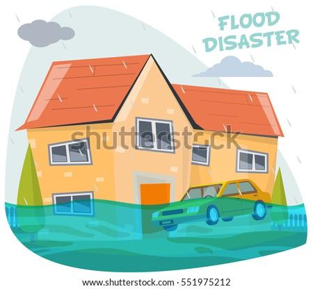 cartoon flood disaster