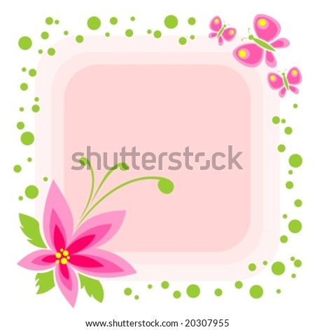 stock vector : Cartoon flower and butterflies on a pink background.