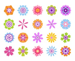 Cartoon flower icons. Summer cute girly stickers, modern flowers clip art icon set. Vector retro pretty nature graphic template