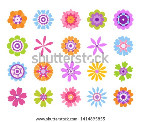 Cartoon flower icons. Summer cute girly stickers, modern flowers clip art icon set. Vector retro pretty nature graphic template #1414895855