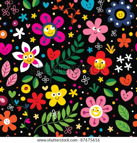 cartoon flowers and hearts pattern