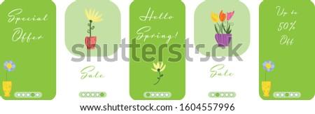 Cartoon flowers set. Vector set of five funny mobile sites. Mock up for package design. Social media abstract backgrounds pack. Mobile phone pattern. illustration for shops action.