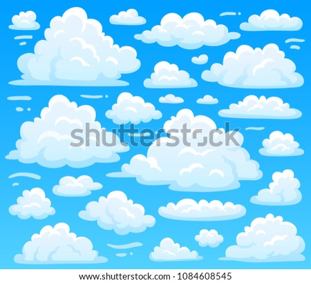 cartoon fluffy cloud at azure