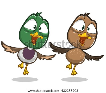 cartoon flying duck and smiling