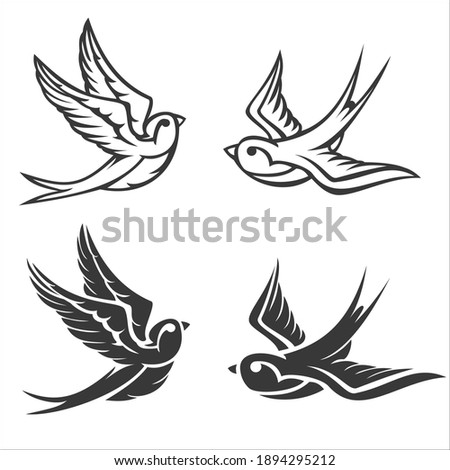 Cartoon flying monochrome swallow isolated on white background. Design bird in retro vintage style for old school tattoo, label, poster. Vector illustration. Foto stock ©