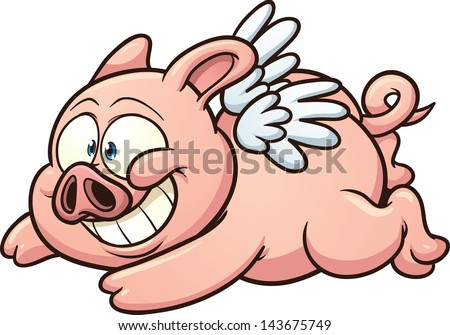 cartoon flying pig vector clip