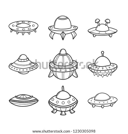 Cartoon flying saucers hand drawn outline illustrations set. Cute UFO. Space shuttle cliparts. Doodle spaceship. Aliens. Spacecraft sticker. Cosmic icon. Isolated vector design element