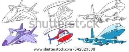 cartoon flying transport set