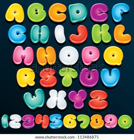 Cartoon Font. Multicolored Vector Letters and Numbers for your Text, Design or Logos