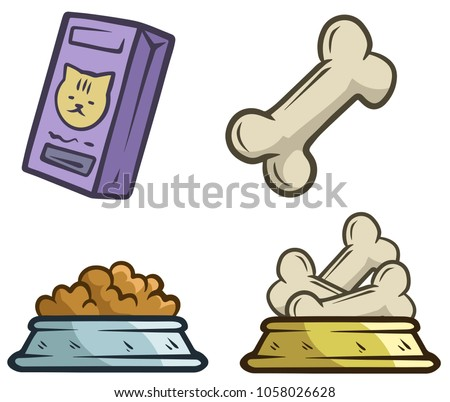 Cartoon food objects for cats and dogs. Bowl with feed and bones. Pet shop. Isolated on white background. Vector icon set.