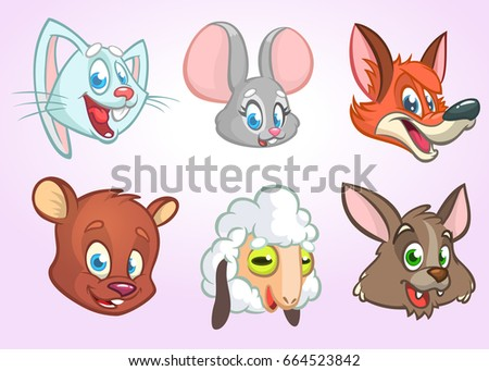 Cartoon forest animals head icons. Vector set of wild and farm animals including bunny rabbit, mouse, fox, bear, sheep and wolf. Illustrations isolated on white. Design elements for print, logo #664523842
