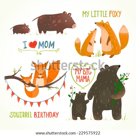 cartoon forest animals parent