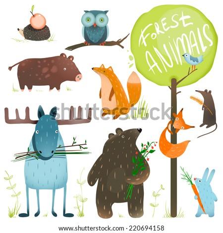 Cartoon Forest Animals Set. Brightly colored childish animals. Vector illustration EPS8.