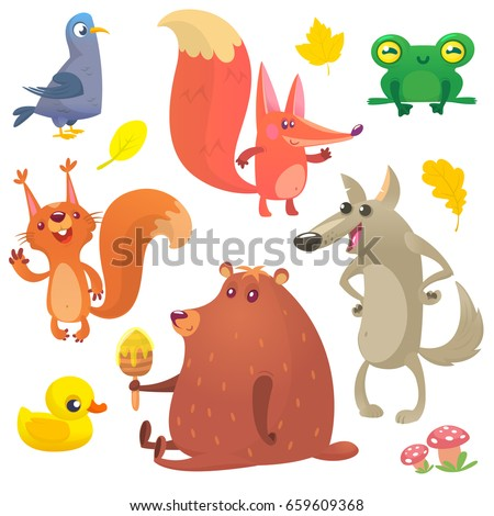cartoon forest animals set