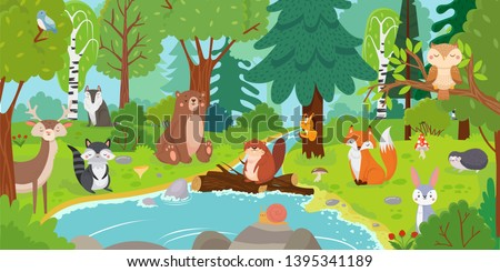 cartoon forest animals wild
