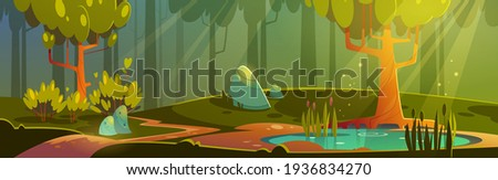 Cartoon forest background with pond or swamp.