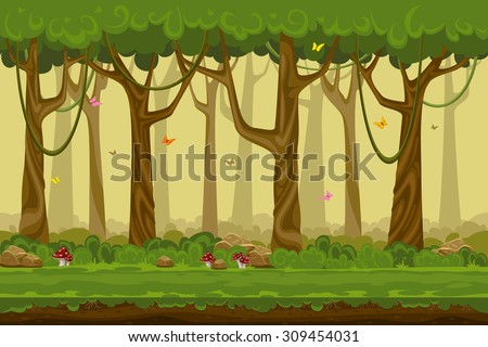 stock vector cartoon forest landscape endless vector nature background for computer games nature tree outdoor 309454031 - Каталог — Фотообои «Природа, пейзаж»