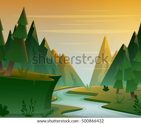 cartoon forest landscape with