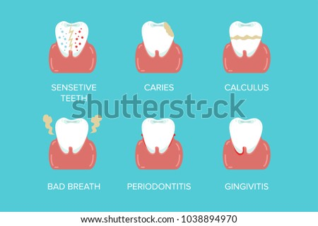 Cartoon Formation Dental Problems Set Health Care Tooth Concept Flat Design Style. Vector illustration #1038894970