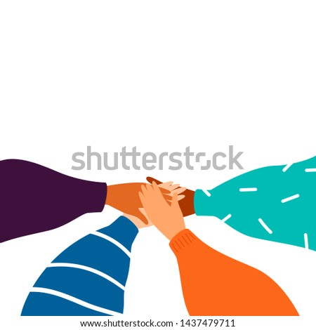 Cartoon Four human hands support each other. Concept of teamwork with copy space. Diverse female hands united for social freedom and peace, women power. Vector Foto stock ©