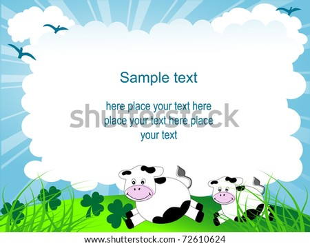 Cartoon frame with cows and clover