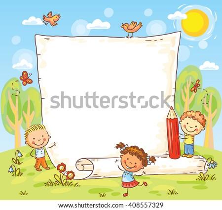 cartoon frame with three kids