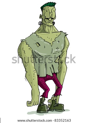 Cartoon Frankenstein monster with green skin for Halloween. Isolated on white