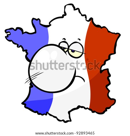 Cartoon French Map- sad.