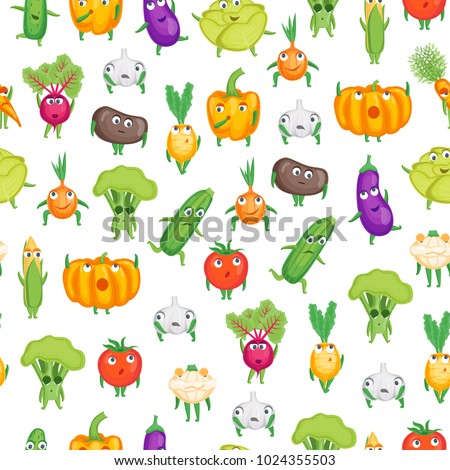 Cartoon Fresh Healthy Vegetables Characters Seamless Pattern Background for Cafe Restaurant or Shop Element. Vector illustration of Vegetable Smile #1024355503