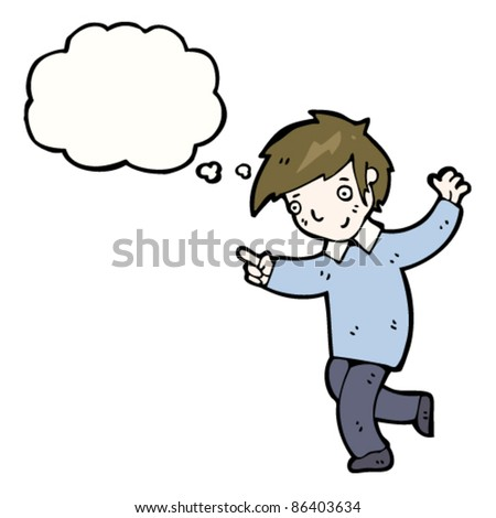 cartoon friendly boy dancing with thought bubble