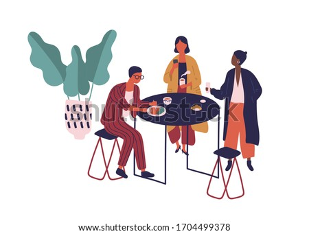 Cartoon friends enjoy lunch together at cafeteria vector flat illustration. Colorful man and woman sit at table eat food and drink beverage at cafe isolated on white. People have break at food court
