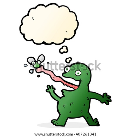 cartoon frog catching fly with