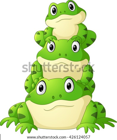 cartoon frog stacked isolated
