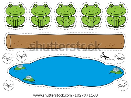 cartoon frogs  log  pool and...