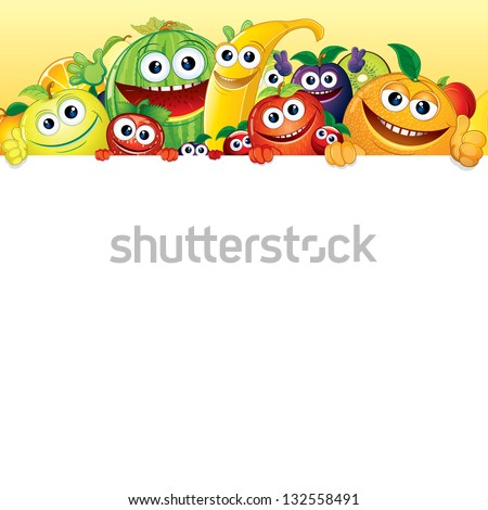 Cartoon Fruit and Berries. Comic Banana, Apple, Orange, Strawberry with White Background for Text. Vector Illustration