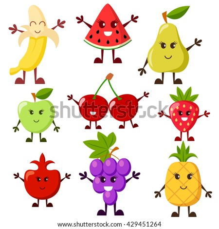 Cartoon fruit characters. Grape, watermelon, apple, strawberry, banana, cherry, pear, pineapple, garnet #429451264
