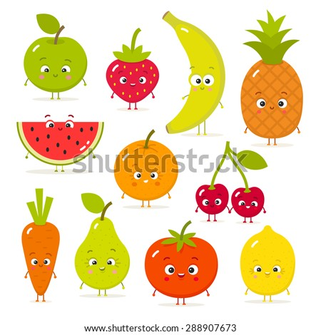 Cartoon fruits and vegetables with eyes in flat style. Strawberry, banana, apple, pineapple, carrot, tomato, cherry, lemon
