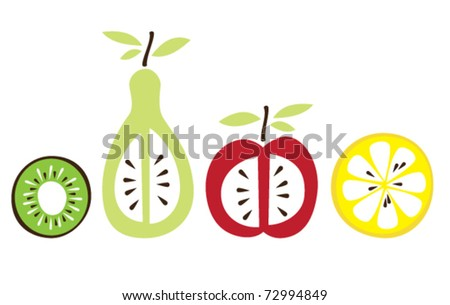 Cartoon fruits collection vector illustration