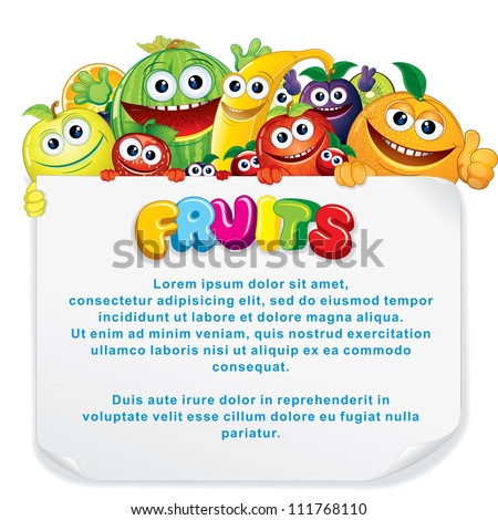 Cartoon Fruits. Funny Banana, Apple, Orange, Strawberry and other are holding a Blank Sign. Vector Illustration