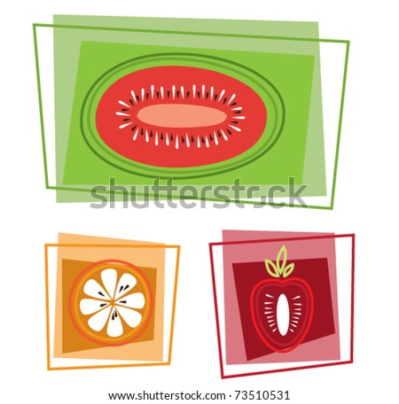 Cartoon fruits in rectangles