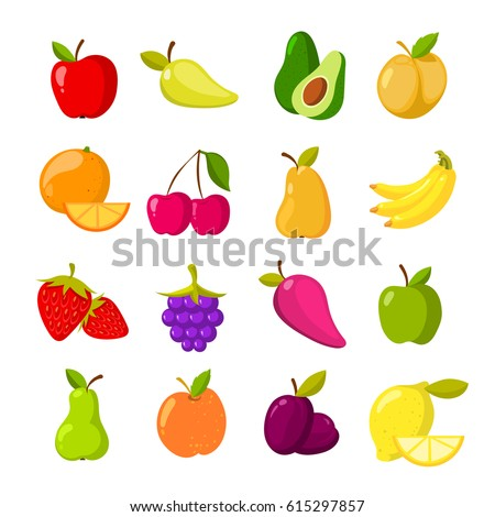 Cartoon fruits vector clipart collection. Fruit icons isolated on white background