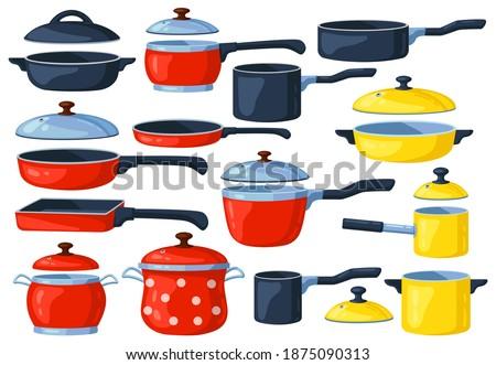 Cartoon frying pan. Cooking pots, metal saucepan and casserole, kitchen cooking items. Kitchen utensils vector illustration set. Cooking pan, kitchenware utensil equipment