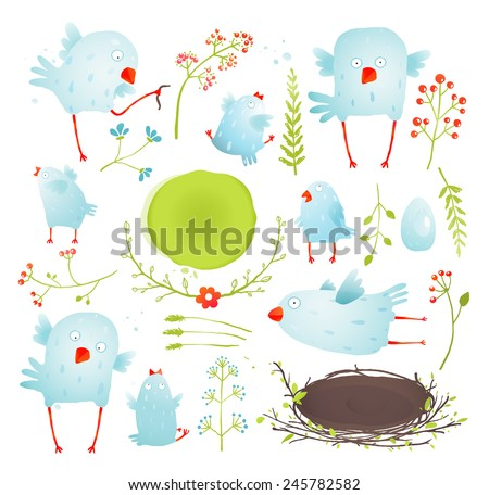 cartoon fun and cute baby birds
