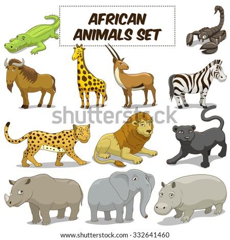 cartoon funny african savannah